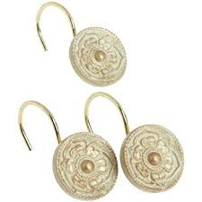 Gold Curtain Rings Creative Scents Shower Curtain Hooks Set Of 12