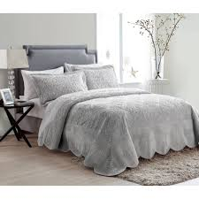 Grey Quilted Bedspread Vcny Westland Solid Quilted Plush Bedding Bedspread Multiple