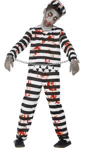 Halloween Jail Costumes Zombie Inmate Kids Costume Dead Prisoner Boys Halloween Costume