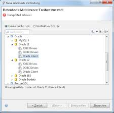 datenbank design tool behavior when choosing oracle client as driver for