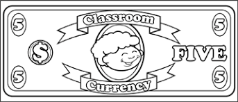 printable classroom currency 5 to color
