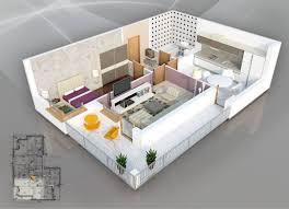 appartement avec une chambre 50 plans en 3d d appartement avec 1 chambres