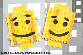 popsicle stick lego character kid craft glued to my crafts