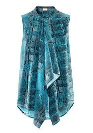snake print blouse blue snake print buttons sleeveless chiffon t shirt t shirts tops