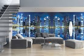 murals mirror view of night city lights maxi size wall murals mirror view of night city lights maxi size