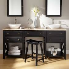 stylish double sink vanity with black wooden base open storage