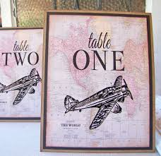 themed table numbers let s fly away together travel theme wedding ideas vintage