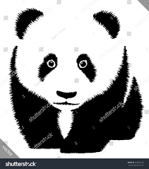 black white linear paint draw panda stock vector 565565149