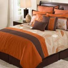 Orange Bed Sets Beauteous Orange Brown Comforter Set With 8 Bedding Set With