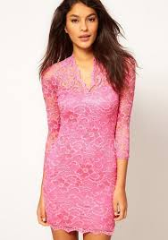 dress pink pink band collar seven s sleeve mini lace dress cocktail dresses
