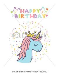 vector clipart of unicorn birthday card happy birthday card with