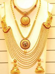 golden necklace designs images Short long gold necklace designs set savory jewellery jpg
