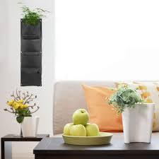 large 4 pockets hanging flower pot polyester wall mounted vertical