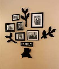 square black stained wooden family photos frame design on brown