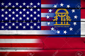 State Flags Of Usa Usa And Georgia State Flag On Wood Background Stock Photo Picture