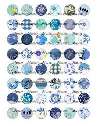 Cabochon Vorlagen Blau Blaue Ornamente Pdf Druckvorlage F禺r Cabochons Perlen