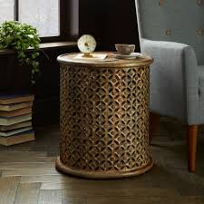west elm round side table carved wood side table west elm