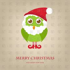 funny christmas owl in santa hat and beard vector clipart image