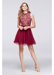 maroon quinceanera dresses embroidered lace mock neck homecoming dress david s bridal