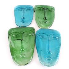 Ebth by Mexican Green And Blue Art Glass Face Wall Sconces Ebth Navy Blue