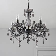 B Q Kitchen Ceiling Lights by Annelise Crystal Droplets Smoked 5 Lamp Chandelier Departments