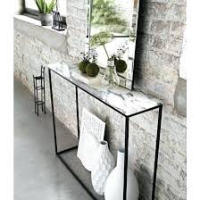 Glass Entry Table Metal Console Table Contemporary With Regard To Black Metal And
