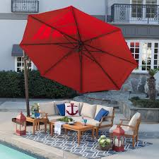 Patio Offset Umbrella Belham Living 13 Ft Sunbrella Rotating Offset Umbrella With Tilt
