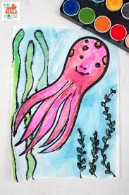 octopus watercolour glue resist art ocean crafts watercolor and