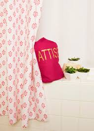 white pink floral girls shower curtain