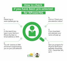How To Check If You by How To Check If You Have Been Pre Selected For N Power Job