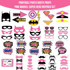 printable girly photo booth props instant download pink marvel super girl hero inspired printable