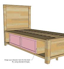twin storage bed plans ana white twin storage captains bed diy