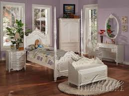 Twin Bedroom Set by Pearl White Finish Twin Size Post Bedroom Set Item 01000t Set