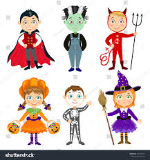 halloween background with silhouettes of children trick or treating in halloween costume set children halloween costumes vampire dracula stock vector