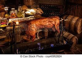 cuisine au moyen age ancien moyen âge nourriture royal château typique photo