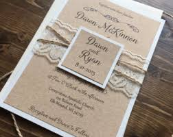 Rustic Vintage Wedding Invitations Wedding Invitation Vintage Wedding Invitation Lace Wedding