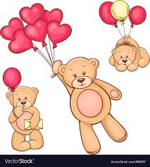 teddy balloons set of teddy and balloons royalty free vector image