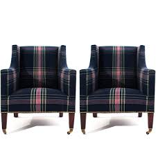 upholstered club chair club chairs vintage ralph lauren blanket plaid style upholstered