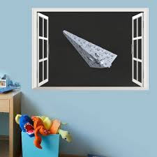 star war spacecraft fake windows wall stickers kids children room