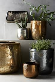 Planters And Pots Metallic Crackle Herb Pot Large Anthropologie