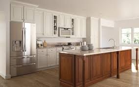 concrete countertops white glazed kitchen cabinets lighting