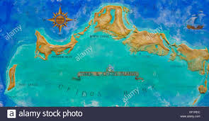 Map Caribbean by Map Of Caribbean Island Turks And Caicos Painted On The Wall Stock