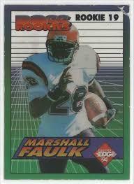 1 marshall faulk boss rookies clear cut card top right corner