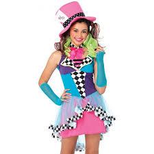 mayhem mad hatter junior size halloween costume for girls alice
