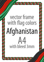 afghanistan ribbon frame and border of ribbon with the colors of the afghanistan flag