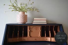 Furniture Secretary Desk by Navy And Copper Secretary Desk Makeover Lily Field Co