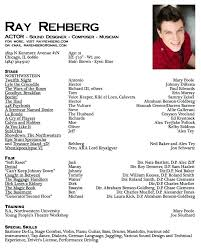 Musical Theater Resume Template Sample Musical Theatre Resume Theatre Acting Sample Resume Theater