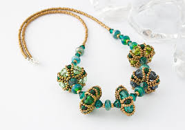 beaded beads necklace images Green beaded bead necklace by ciel creations jpg