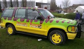 mega dinosaur fan turns a ford explorer into a jurassic park truck