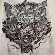 awesome skull and wolf sketch by mike tattoo who is always